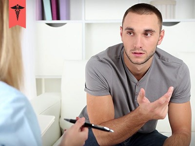 patient talking to therapist