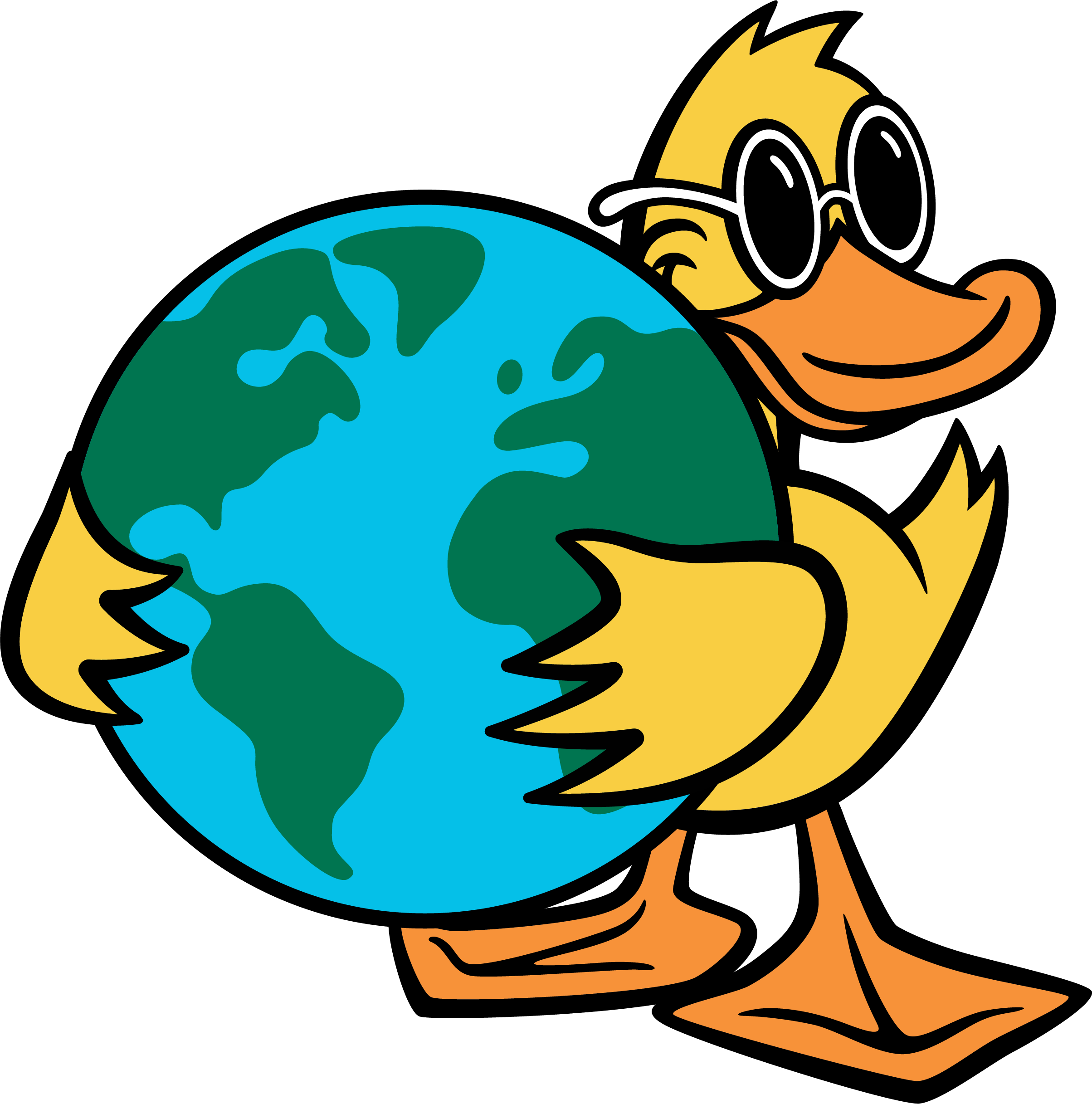 Duck Mascot Holding Earth