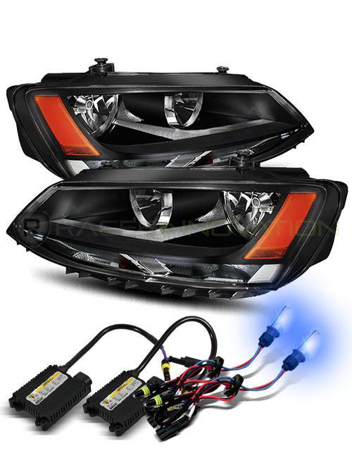 10000K Xenon HID/For 11-14 Volkswagen Jetta LH/RH Black Crystal Headlights Lamps