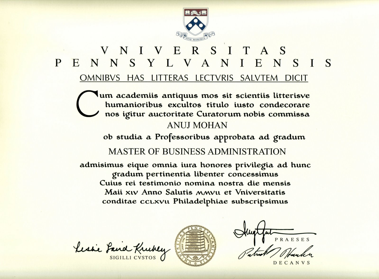 look what does an actual wharton mba diploma look like
