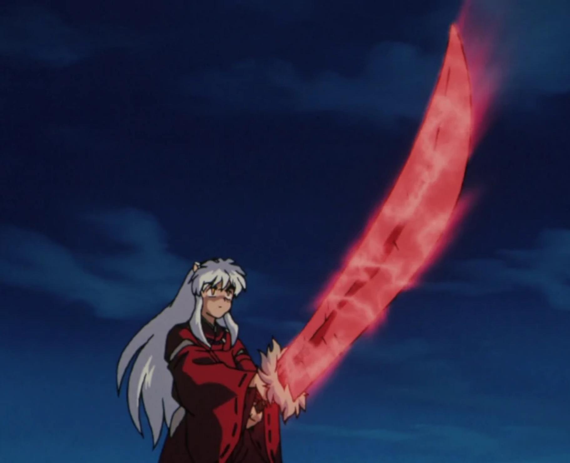 Inuyasha holding the red Tessiaga
