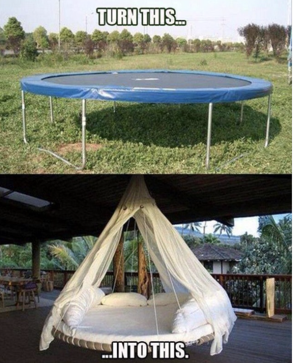 Trampoline turned into Chic hanging canopy chair