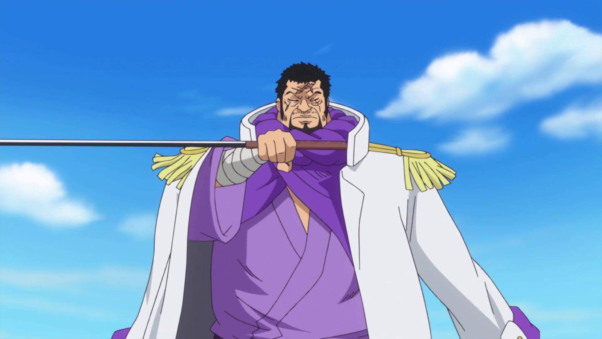 Admiral Fujitora holding a sword sideways