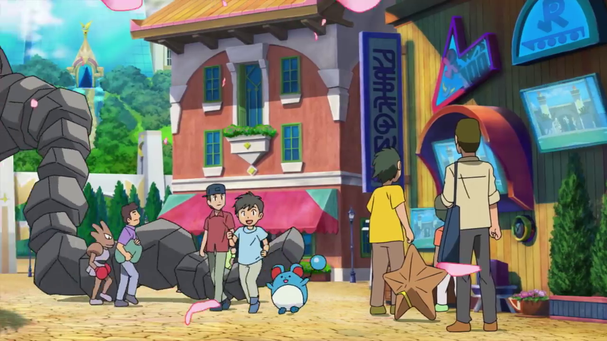 A picture of children and pokemon playing together