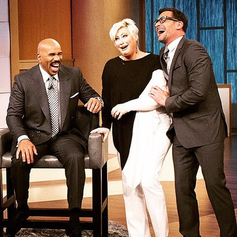 Steve Harvey with Kim Gravel and Lawrence Zarian