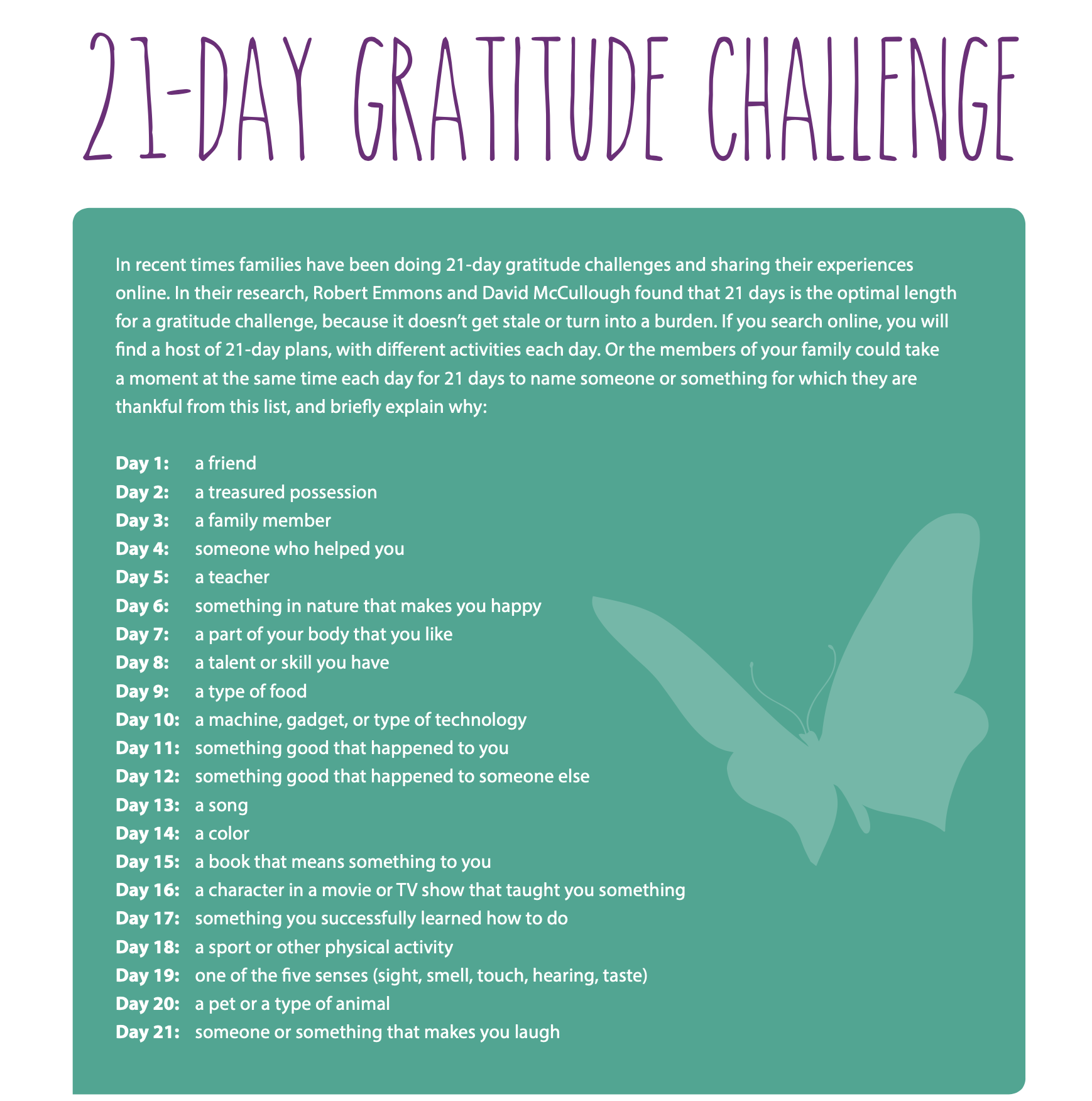 Enlighten Education 21 Day Gratitude Challenge