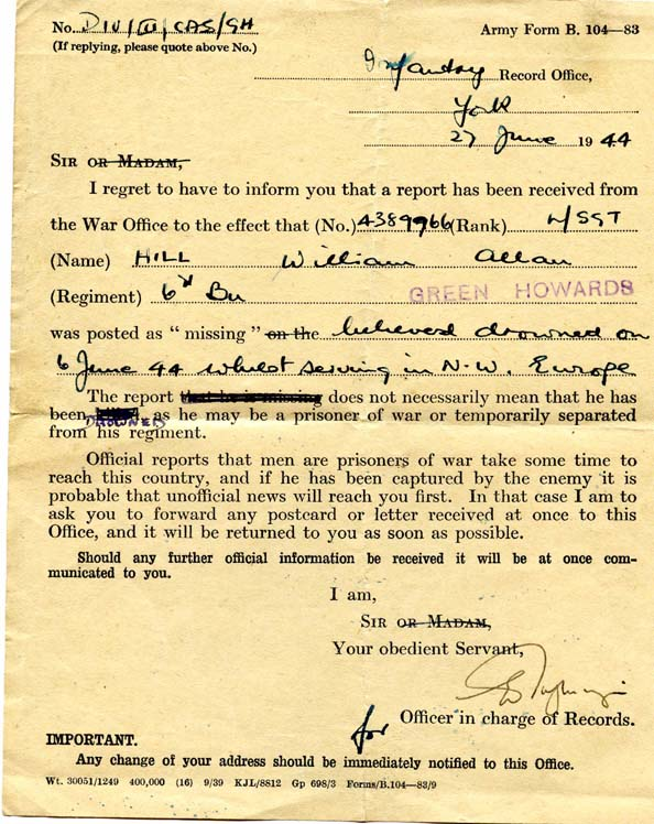 Record Office letter advising Rufty missing wwii