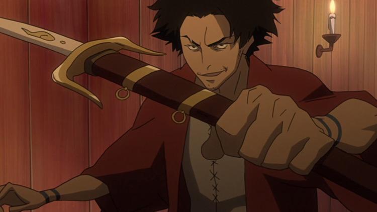 Mugen holding a sword sheath