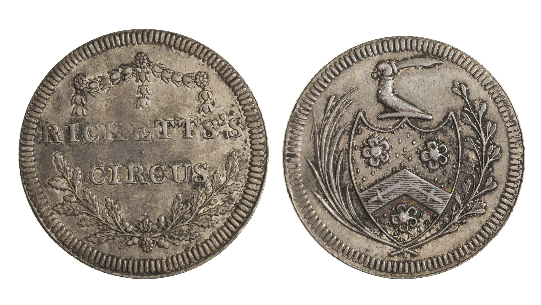 Admission coins to Ricketts Circus