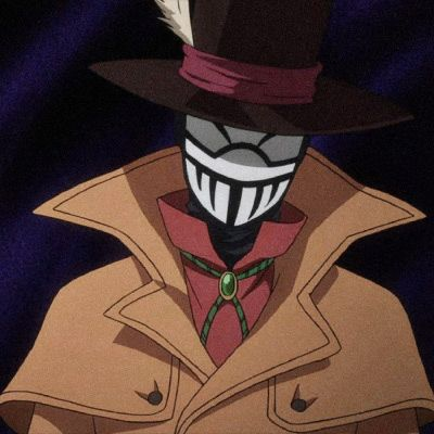 Mr Compress, in a hat and wearing a jacket and a mask.