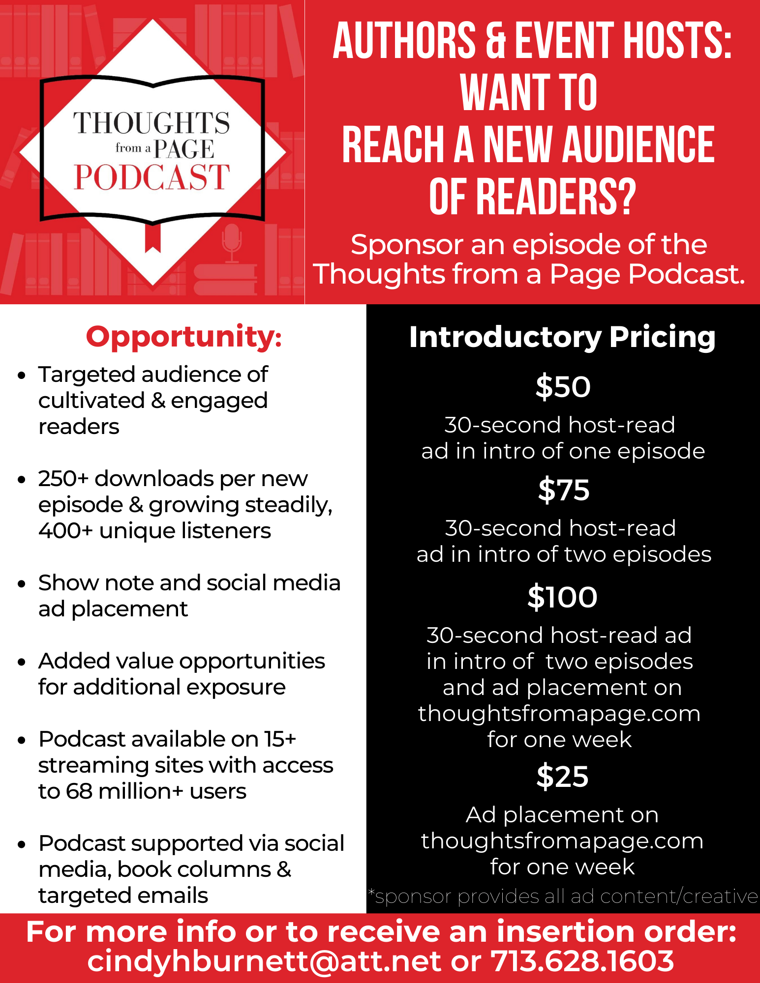Thoughts from a Page Episode Sponsorship Opportunity
