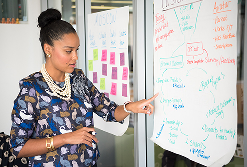 Woman at white board mapping out plan