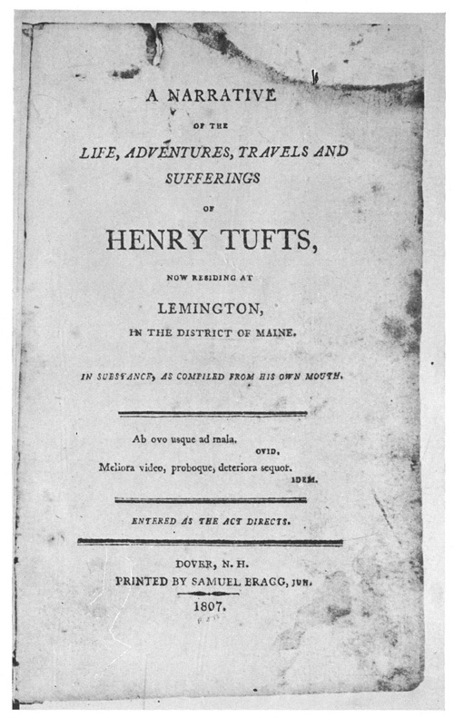 Title page of the Autobiography of Henry Tufts