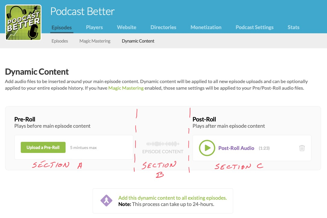 Buzzsprout Dynamic Content Sections