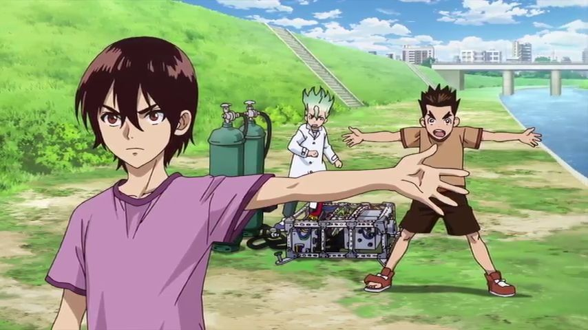 Anime with Dr stone characters in it showing the hillside