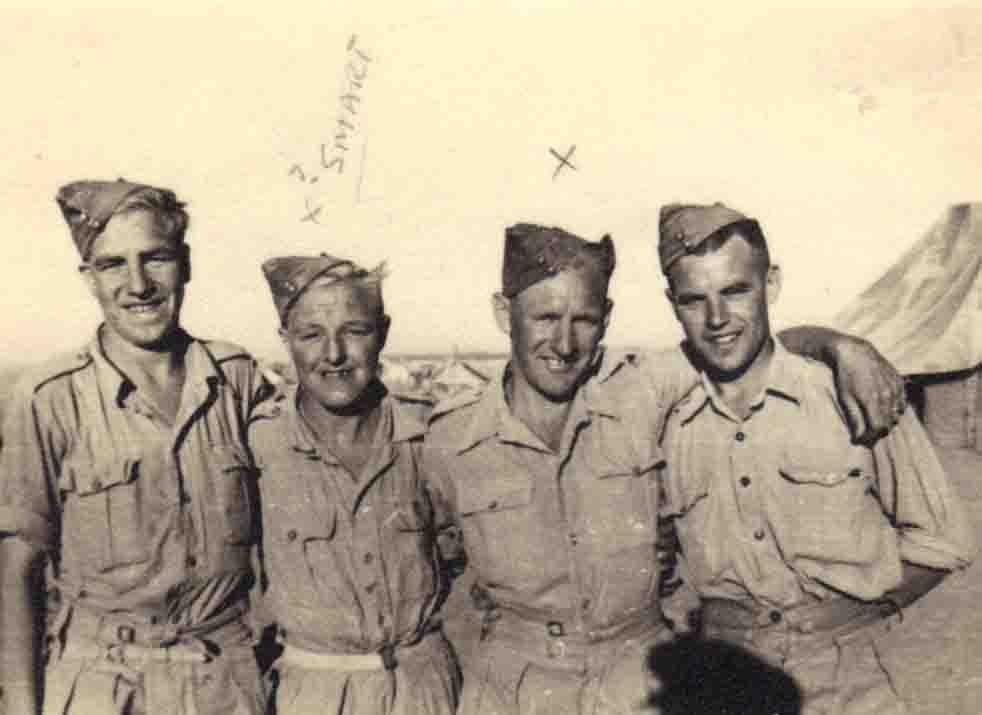Tommy Gartland on left & Cpl Walpole 3rd left WW2