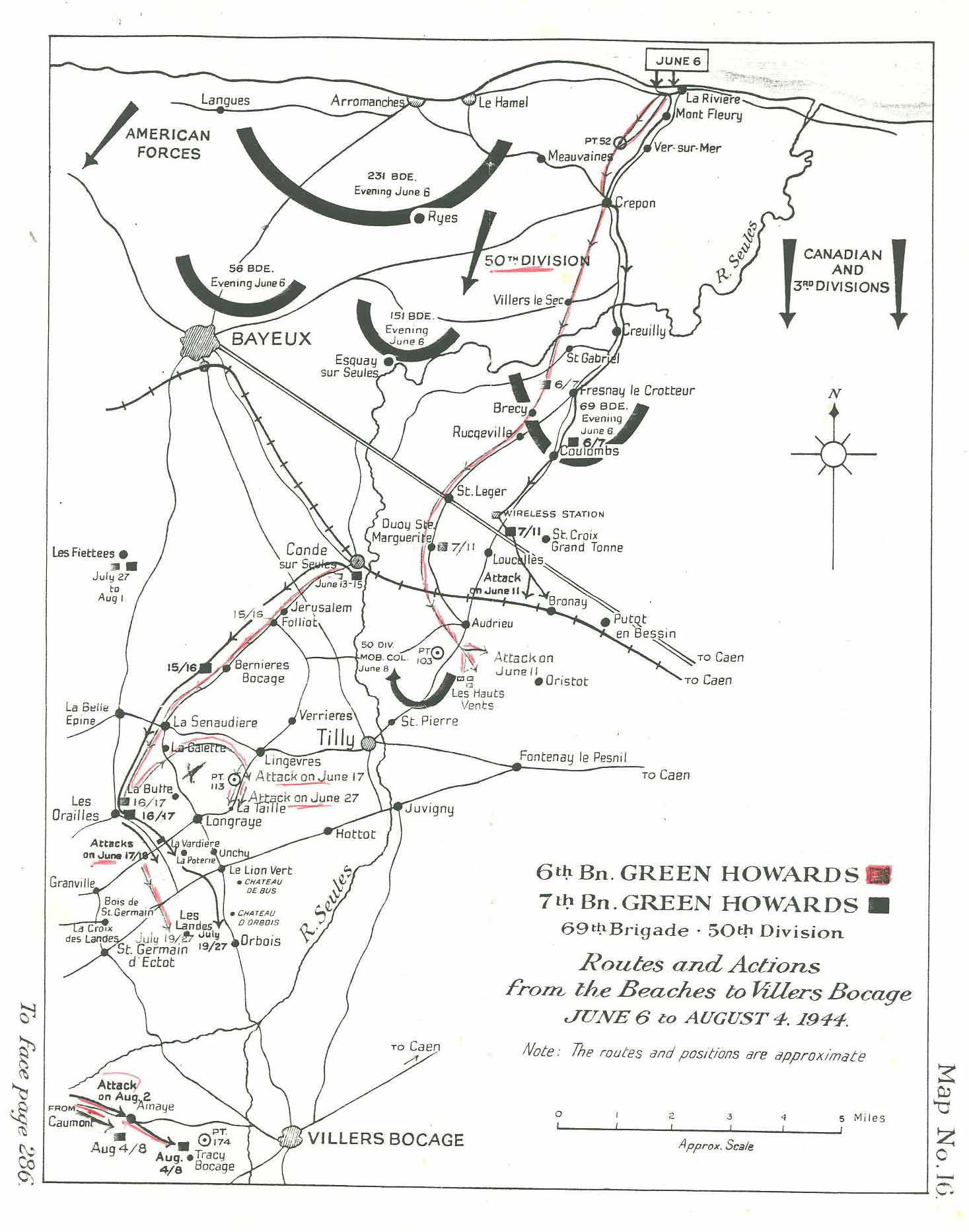 Villers area map from Synge WW2