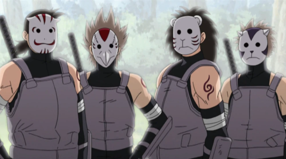 4 guys wearing the ANBU mask from Naruto