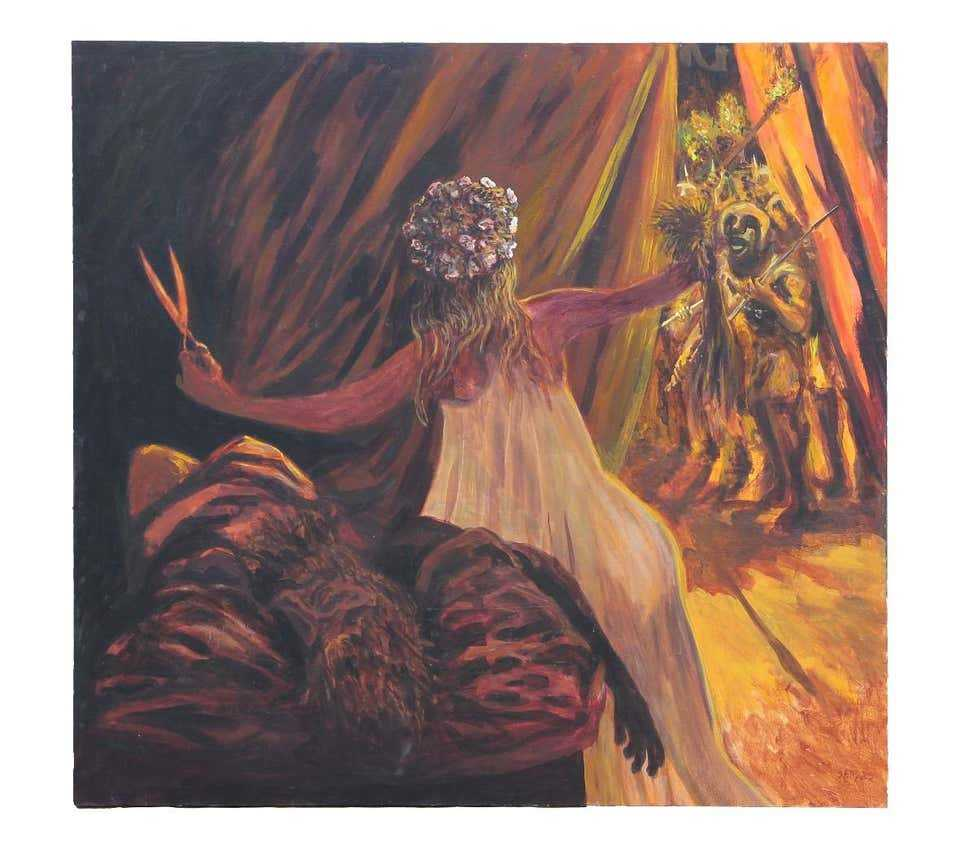 Professionally Matted Art Deco Fashion Print Ready to Frame Erte 1982 SAMSON and DELILAH Biblical Print Samson in Chains Bible Story