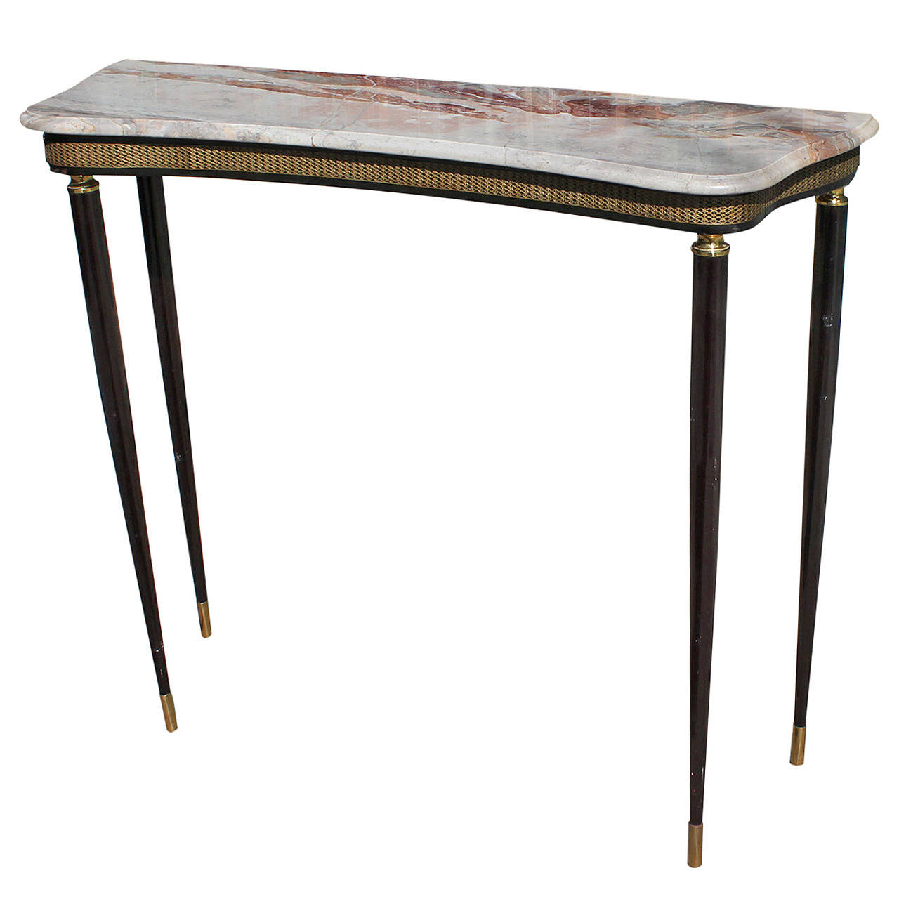 petite italian marble console with brass accents. Black Bedroom Furniture Sets. Home Design Ideas
