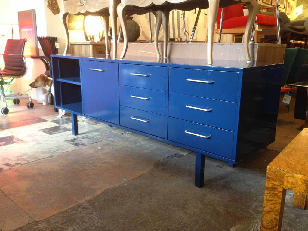 Navy Blue Lacquered Credenza