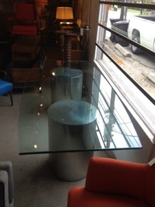 Chrome and Glass Dining/Conference Table