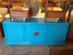 Credenza Teal Lacquered