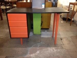 Orange Lacquered and Ebonized Desk
