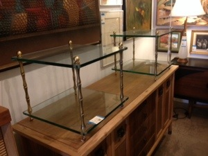Glass and Bamboo Side Tables