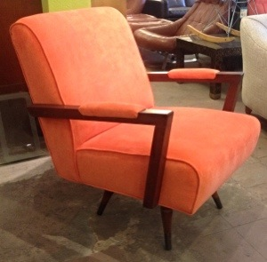 Orange Velvet Swivel Chair