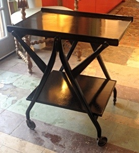 Black Lacquered Bar Cart