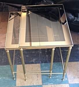 Brass Nesting Tables with Glass Tops