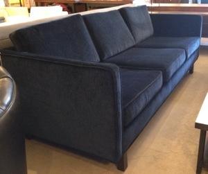 Mid Century Style Blue Velvet Sofa