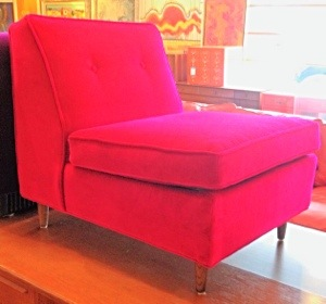 Reupholstered Magenta Velvet Slipper Chair