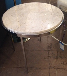 Chrome and Marble Side Table