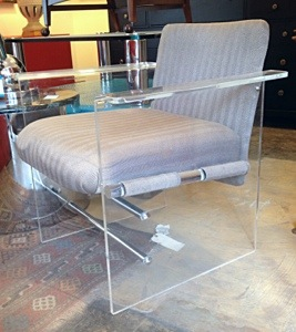 Lucite, Chrome and Fabric Chairs pair