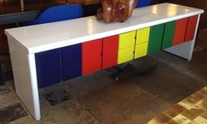 Multi Colored Lacquered Credenza