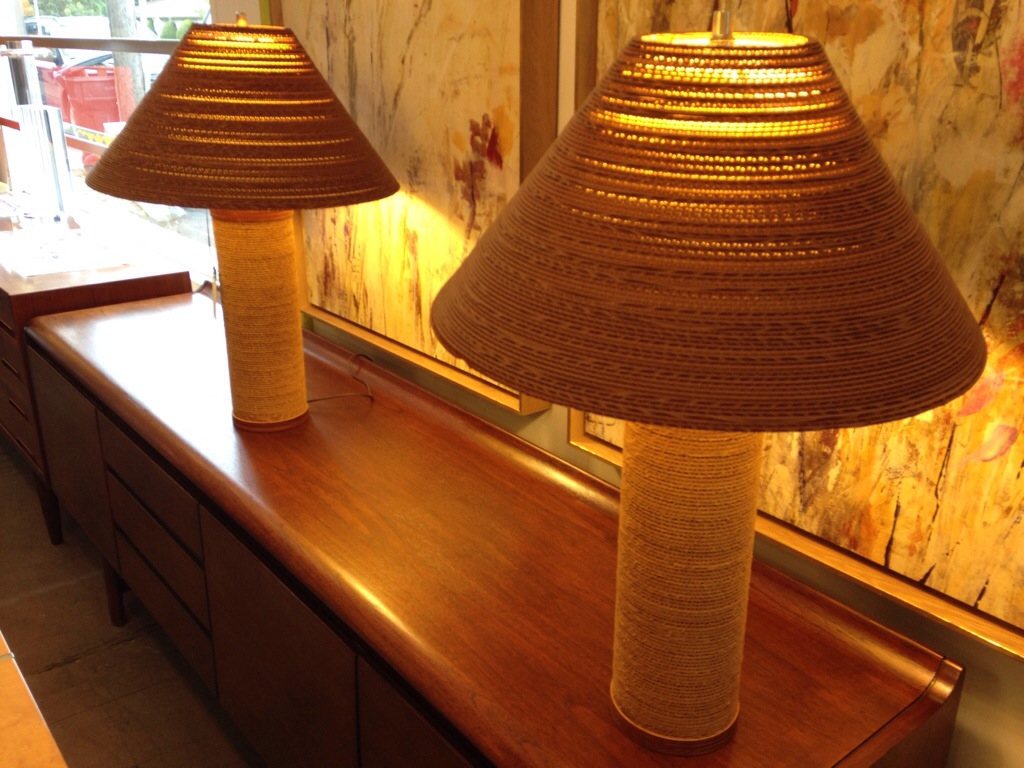 textured recycled lamp from at made barghs bargh cardboard are tabitha striking design corrugated lamps
