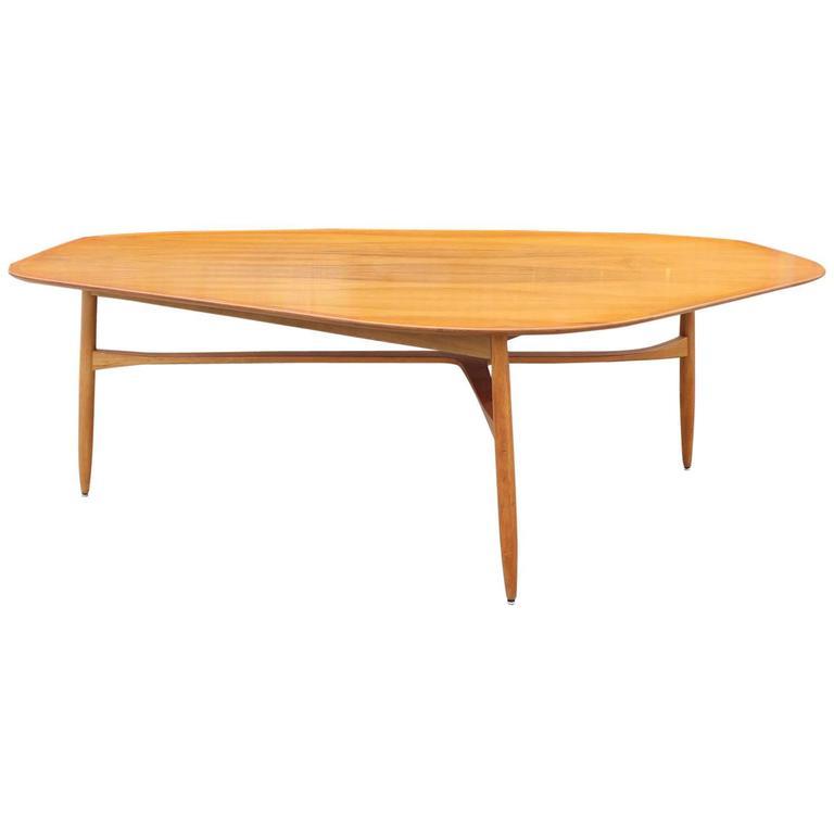 Exceptional Organic Sculptural Tri Leg Tall Coffee Table