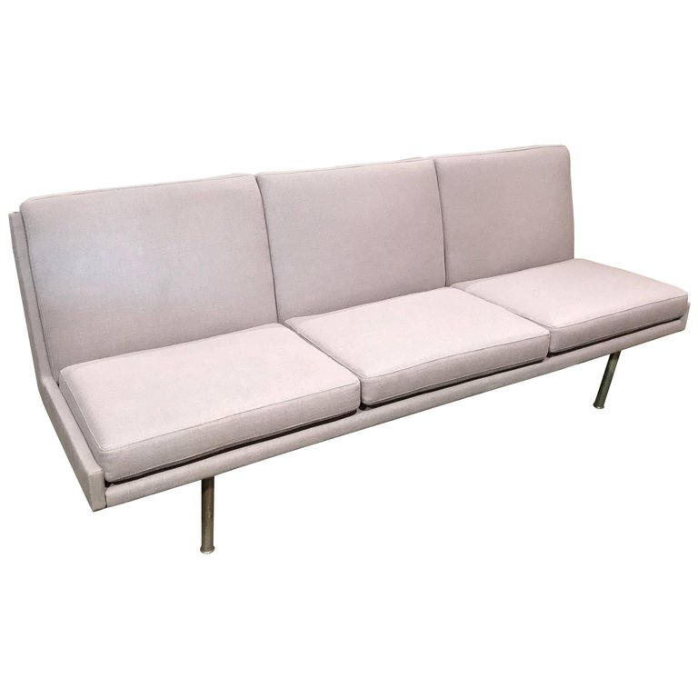 Rare Hans Wegner Armless Three Seat Sofa with Steel Legs in Light