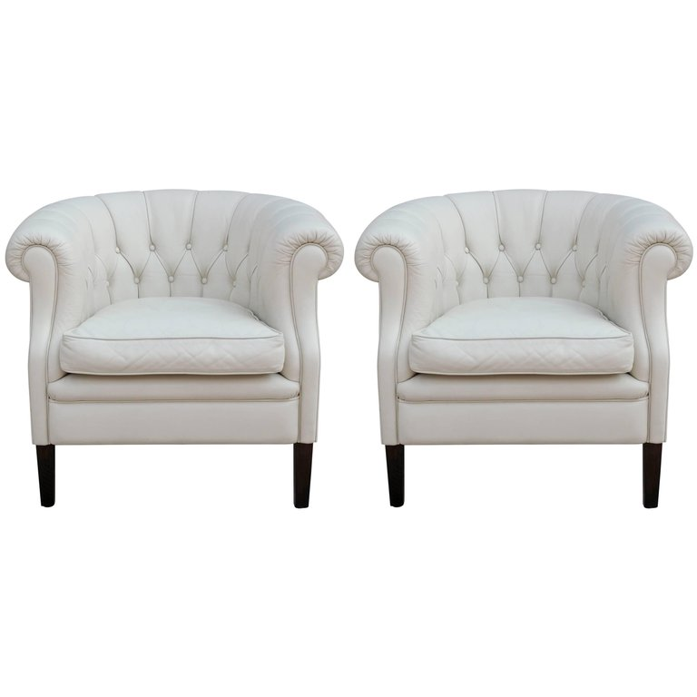 Pair of Hollywood Regency White Leather Tufted Chesterfield Style