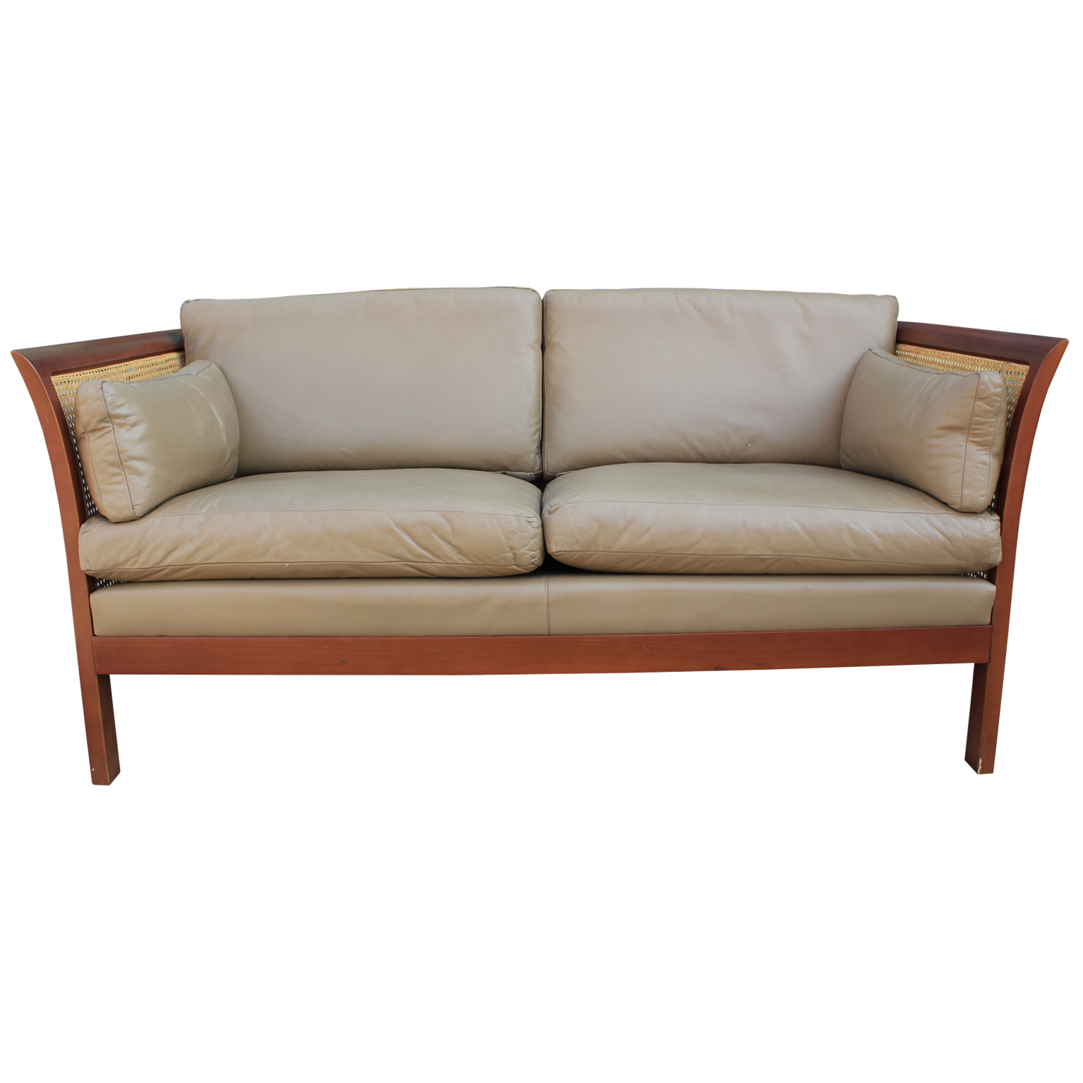 Arne Norell Leather And Cane Sofa
