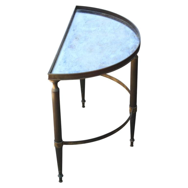 Modern French Brass Demilune Side Table With Vintage Half Moon Mirror Top