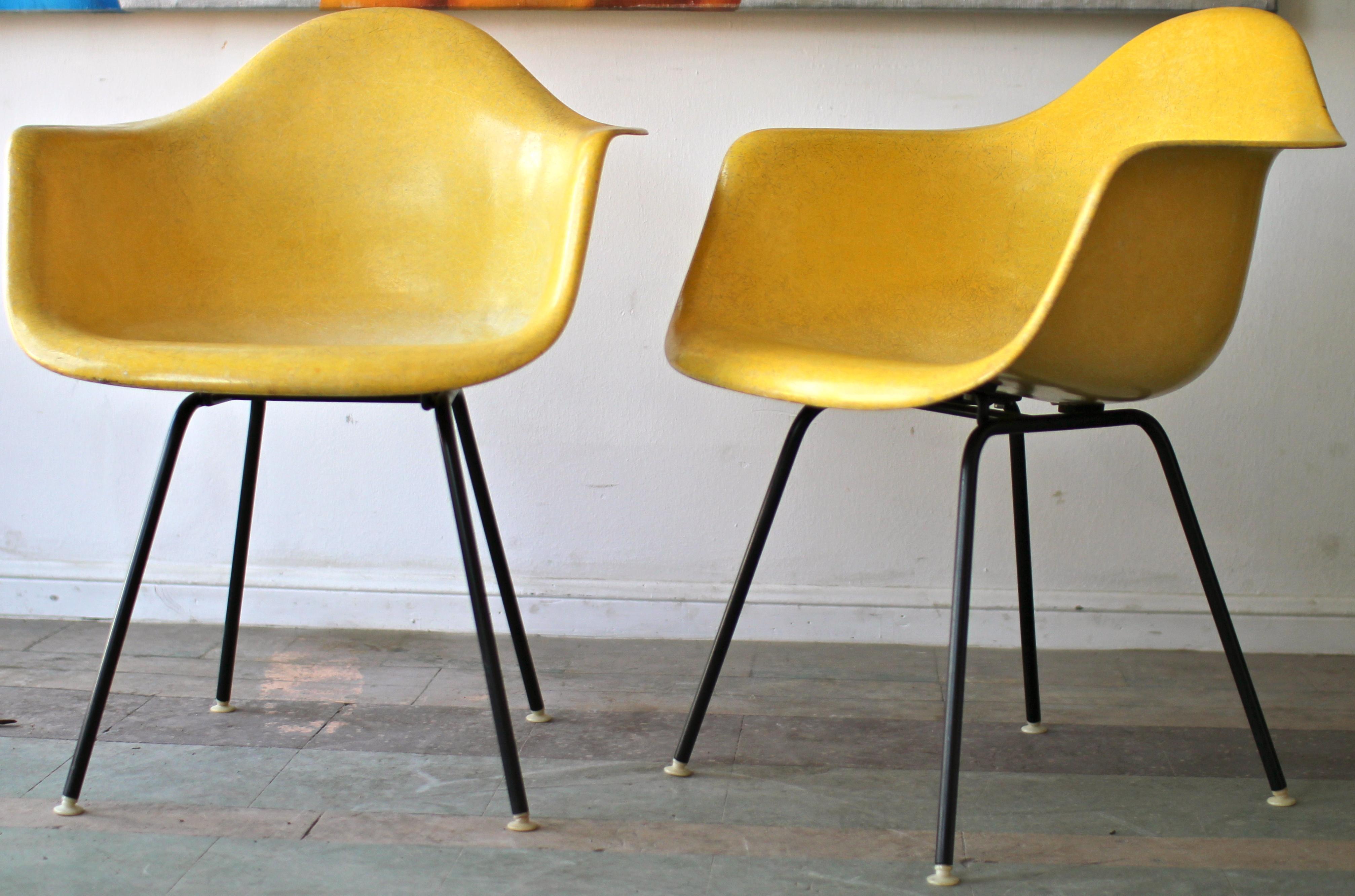Yellow herman miller shell chairs mid century modern for Mid century modern furniture houston