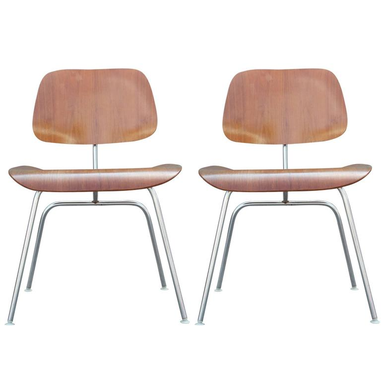 Pair Of Modern DCM Dining Or Side Chairs By Charles Eames For Herman Miller