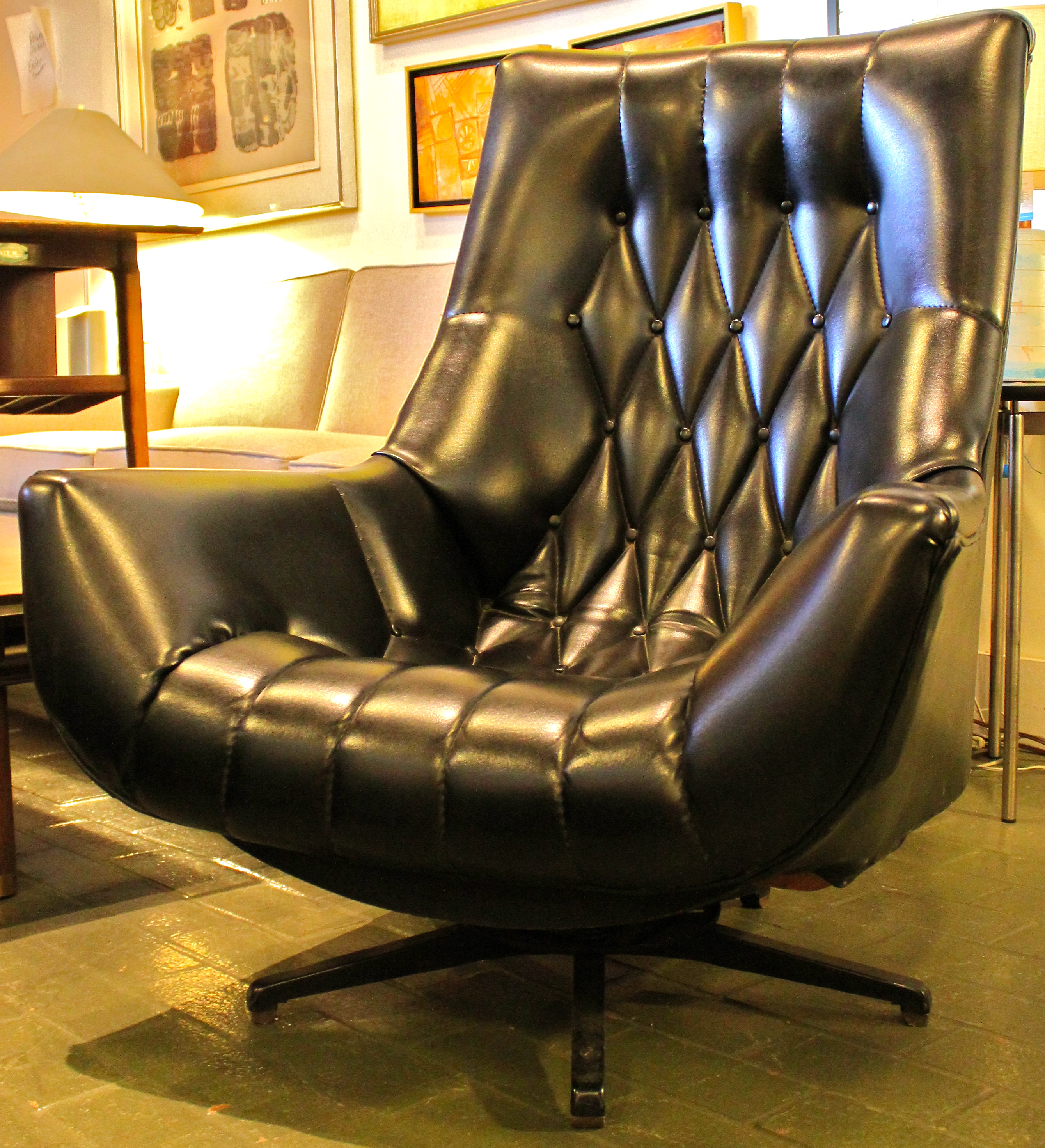 Black Tufted Lounge Chair Mid Century Modern Lounge chair Vintage Modern V