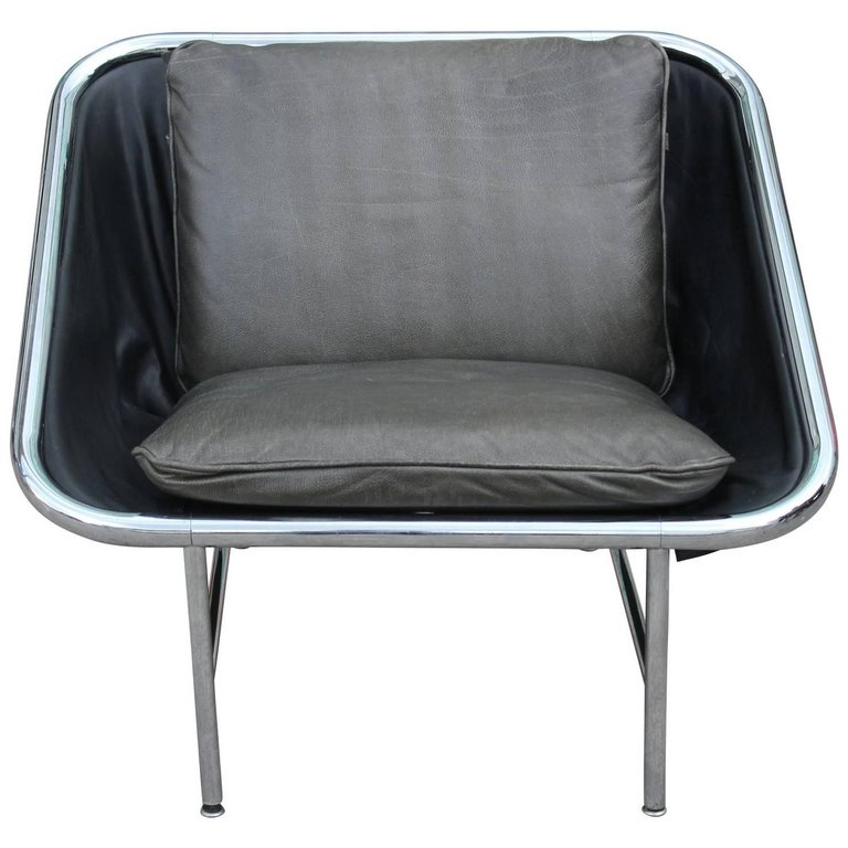 modern george nelson for herman miller chrome and leather sling