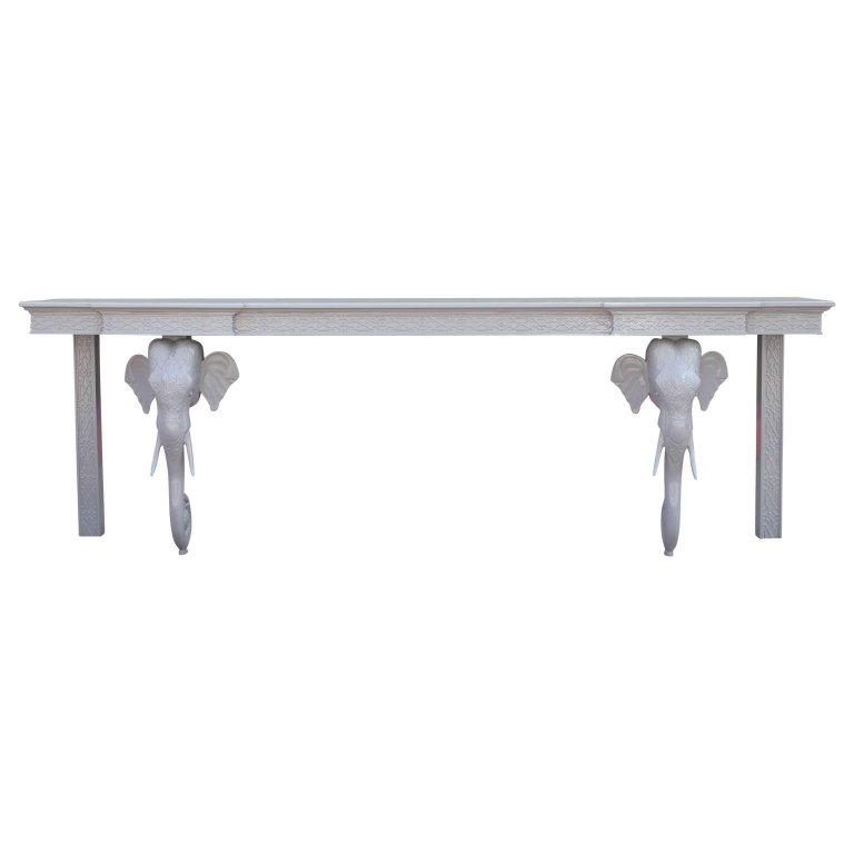 Hollywood Regency Modern Grey Lacquered Elephant Console Table by