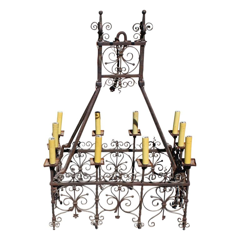 Wonderful 18th century spanish or french hand wrought iron chandelier aloadofball Image collections