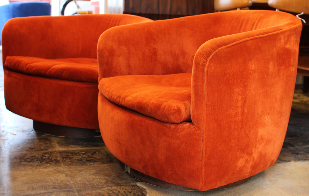 Mid Century Modern Furniture Houston swivel rocking lounge chairsmilo baughman, mid century modern